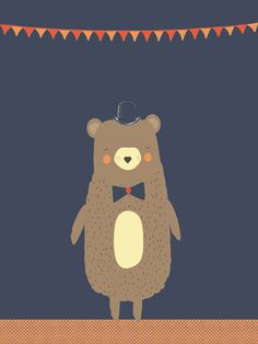 Beer print - Pimpelpluis - https://www.facebook.com/pages/Pimpelpluis/188675421305550?ref=hl - (nursery print illustration kids children art poster dieren kinderen cute illustratie hoed animal bear beer vlaggetjes)