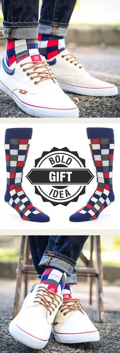 Looking for a great gift or stocking stuffer idea? With socks, you take out the guesswork and give them the gift of bold that they will remember every time they slip on a pair of fun socks. Shop these red and blue checkered socks and more. c/o Radii Footwear