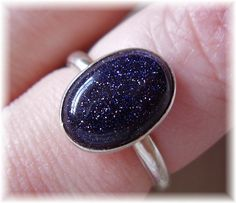Handmade Blue Goldstone and Sterling Silver Ring