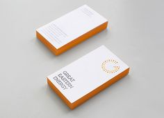 The new identity for Great Eastern Energy is embossed on stationery and edges of business cards are printed orange.