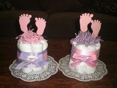 Baby Feet Diaper Cake Baby Shower by bearbottomdiapercakes on Etsy, $8.50