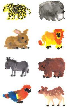 'wilde dieren' by Rob van Mierlo. Maak met water en verf of ecoline dieren in dezelfde techniek als Rob van Mierlo. Experimenteer eerst. Kijk op internet naar afbeeldingen van dieren, let op de vormen en verhouding, op kleur en vacht.