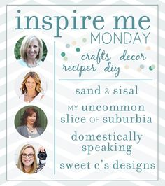 Inspire Me Monday linky party Share your diy, crafts, recipes and home decor!