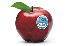Genius Fruit Label Turns into Soap When Wet - I hope this becomes standard on apples!