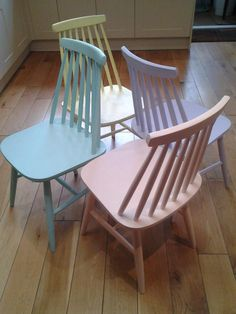 Our dining room chairs painted in pastels - my (current) favourite colour palette!