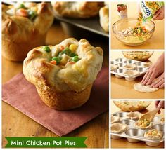 Pillsbury Grands!® Mini Chicken Pot Pies: only 4 ingredients + 20 minutes to prep