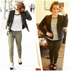 #ChubbyChique 10-13-2016 #ootd #beYOUtiful16 #pinneditspinnedit #october2016pinneditspinnedit Olive pants, spotted top and black blazer inspiration from @jillian.harris