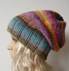 Knitted Slouchy Hat Beanie Hat by Bietas on Etsy