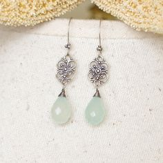 Tear drop Earrings with aqua blue chalcedony, Oxidized sterling silver wire wrapped, antique finish via Etsy