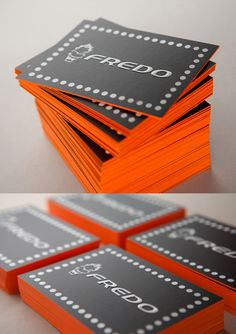 Entertainer Business Cards - bright orange edge painted business card design
