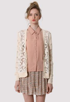 #Chicwish Lace Crochet Cardigan with Chiffon Back