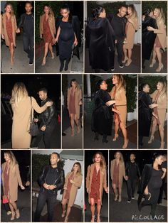 Power quatro! Kim Kardashian and Chrissy Teigen dined out with their husbands Kanye West and John Legend on Saturday night in LA Kim, 35, squeezed into a skintight black dress which she teamed with knee high boots and a long coat. She was seen giving Teigen's husband John Legend a peck goodnight before jumping into the back of a car with her own significant other Kanye West. Swimsuit model Chrissy, 29, sported a plunging shirt dress and open toe heels as she kept warm in a long coat.