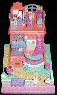 1995 - Polly Pocket Ice Cream Parlor - Pollyville    Mattel Toys #14528    Tiny World Polly's Ice Cream Heaven Bluebird Toys