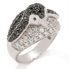 "Victoria Wieck 1.94ct Absolute™ Sterling Silver Black and White ""Penguin"" Ring....please!!!!"