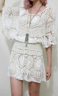 Winged Crochet Mini Dress