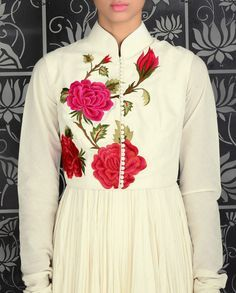 Ivory Crinkled Anarkali Kurta with Embroidered Sleeveless Jacket