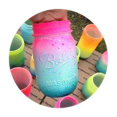 Neon Pink Ombre Galaxy Mason Jar...diy idea for little miss