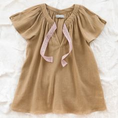 louis louise aurore baby dress - camel