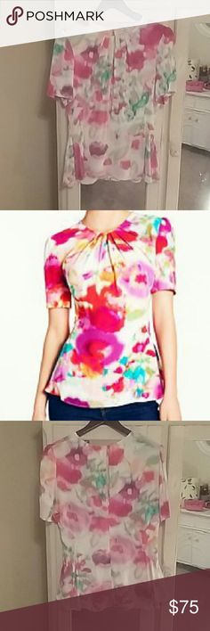 """Kate Spade Water-color Tulip Top Water-color top with a """"peplum"""" style look with back zipper and one top button. Been sitting in my closet, never been worn. kate spade Tops Blouses"""