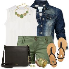 Olive Shorts, Ivory Top, Denim Jacket, created by daiscat on Polyvore