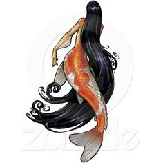 A beautiful mermaid with an orange and white Koi tail swims with her long black hair trailing behind her in graceful swirls. These lovely gift items featuring the art of Jill Johansen are perfect for lovers of fantasy artwork everywhere! Mermaid Artwork, Mermaid Drawings, Fish Drawings, Mermaid Tattoos, Pin Up Mermaid, Black Mermaid, The Little Mermaid, Mermaid Board, Mermaid Fin
