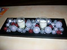 Christmas table centerpiece...may do something like this???
