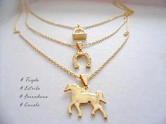 Colar Triplo - Estribo, ferradura e Cavalo