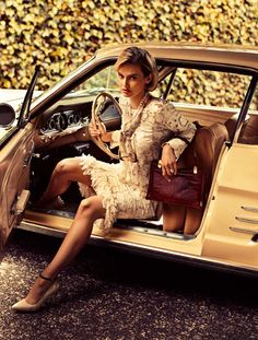 The Dreamer – Penny Pickard revels in sixties inspired looks for the latest issue of Fashion Quarterly New Zealand, shot by Steven Chee. Garbed in a wardrobe of colorful prints and ladylike silhouettes pieced together by Marina Didovich, Penny lives the American dream as she travels in automobile and does household chores.