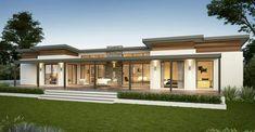 Yallingup Retreat Farmhouse Home Design Modern House Plans, Modern House Design, House Floor Plans, Flat Roof House Designs, Modern Farmhouse Exterior, Farmhouse Design, Farmhouse Windows, House Roof, Facade House