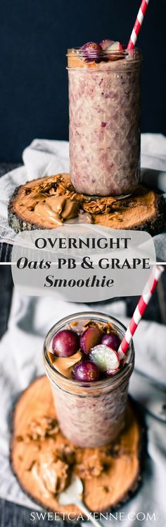 This recipe for overnight oats peanut butter and grape smoothie is prepped the night before so that you can easily prep a hearty smoothie in the morning that tastes like a PB&J!