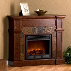 Southern Enterprises Cartwright Espresso Convertible Electric Fireplace - TV Stands at Hayneedle