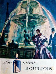 Publicité du parfum Soir de Paris Paris Vintage, Vintage Ads, Vintage Signs, Vintage Posters, Retro Posters, Perfume Ad, Perfume And Cologne, Vintage Perfume, Perfume Bottles