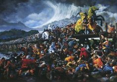 The Taking of Stirling Bridge by Mike Shaw The taking of Stirling Bridge over the Forth by the Scots marks the point where the first great battle of the Scottish wars of independence was won. The heavily equipped English army, now divided into two, struggle to fight in the heavy ground of the river plain. In the centre the Scots Captain Wallace can be seen slaying treasurer Cressingham, while to the right lies a fatally wounded Sir Andrew de Moray.