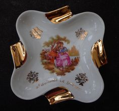 Pretty, Vintage Ashtray By Limoges, Scenes By Fragonard, Vintage Limoges Ashtray With Lovers Scene By Fragonard, Very Good Condition by OnyxCollectables on Etsy