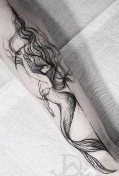 Резултат с изображение за black mermaid tattoos