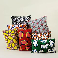 "Cushions from the ""Wrong for Hay"" home capsule collection with prints inspired by African wax fabric. Designed by Nathalie Du Pasquier"