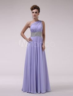 One-Shoulder Ruched Chiffon Lavender Bridesmaid Dress - Milanoo.com
