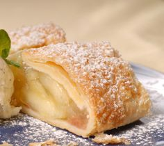 Apple strudel.This is one of my favorite desserts.Delicious apple strudel with dark raisin and grated lemon peel.