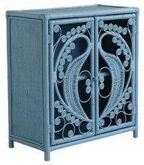 Peacock cabinet features two hinged doors with a beautiful swirling peacock design. The top, sides and inner shelf are tightly woven in rattan. Wonderfully compliments our Lila and Freya bedheads and is perfect as a bedside cabinet.  A gorgeous addition to a hallway, lounge, sunroom or bedroom.  Ethically handcrafted by artisans using sustainable raw materials that assist in conservation.  Dimensions: W80 x D40 x H90 cm.  Available in natural, white, coral, ocean blue and cloud blue.