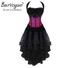 Burvogue Women Steampunk Corsets Dress Vintage Bustier Top Gothic Overbust Corset Dress Waist Corset Sexy Lace Waist Trainer – clothesgroup.net