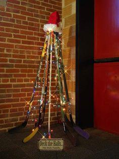 Check out this tree made from hockey sticks! For the den! Hockey Stick Crafts, Craft Stick Crafts, Hockey Sticks, Hockey Girls, Hockey Mom, Hockey Stuff, Boys Hockey Room, Kings Hockey, Blackhawks Hockey