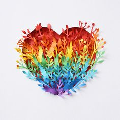 I'm Margaret Scrinkl, paper artist and stop motion animator from Russia. Paper is one of my favorite material for work. I like create my own tiny world using paper layers and texture. 3d Paper Art, Paper Artist, Paper Artwork, Paper Plants, Rainbow Paper, Rainbow Aesthetic, Paper Illustration, Rainbow Heart, Paper Quilling