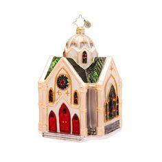 Christopher Radko Glass Heavenly Reflections Church Christmas Ornament