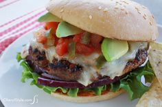 Bite into an extra juicy salsa burger with pepper jack and avocado #juicy #burger #grilling