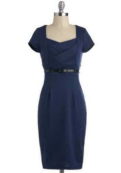 I Dream of Indigo Dress - Blue, Solid, Belted, Sheath / Shift, Short Sleeves …