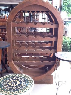 Handcrafted Teak Wine Cabinet From Chiang Mai Thailand