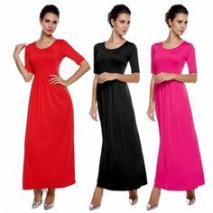 Meaneor Stylish Lady Elegant Women's Fashion Casual Medium Sleeve Solid Party Maxi Long Full Dress