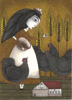 "Ira's Hens  by Judith Clay  Art Print / MINI (8"" x 10"")    $18.00"