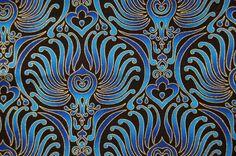 "Tissus ""Patt plume"" paon bleu et or par Timeless Treasures 90x108cm"