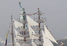 ARC Gloria - flagship of the Colombian Navy passes the Statue of Liberty at Fleet Week celebration in NY
